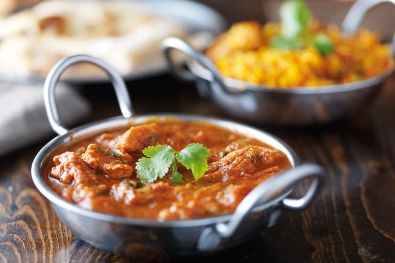 Indian curry and Biryani in balti dishes